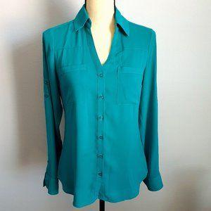 Express Teal Portofino Button Down Shirt Size XS
